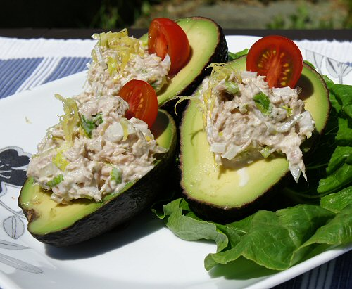 an avocado avocado stuffed with tuna tuna stuffed avocados stuffed