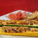 Chili stuffed zucchini Tex-Mex style